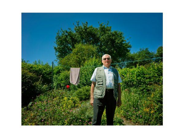 Jim Wood in his garden, August 2018.